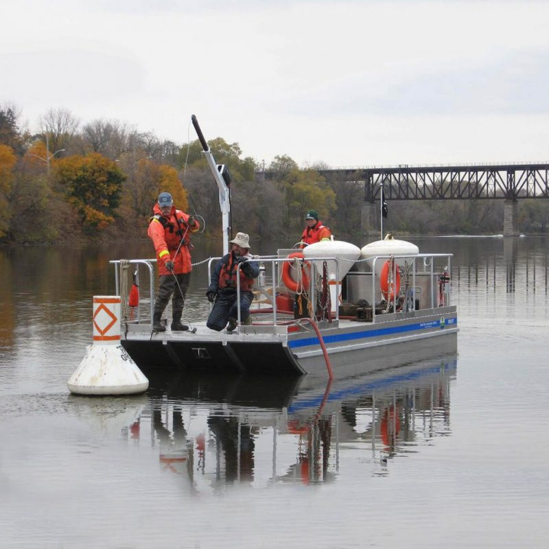 Custom-built aluminum barge by Stanley Boats