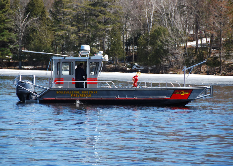 30' Aluminum Landing Craft marine firefighting vessel, ideal platform for protecting cottage properties and shoreline structures.