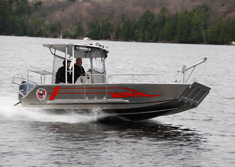 Fully Welded - Aluminum Fire Rescue Boat. Landing Craft design with drop down bow door.