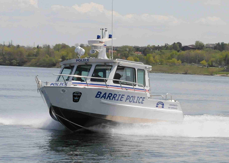 27' Aluminum Police Patrol Boat for marine law enforcement, fast emergency response, search, and rescue.