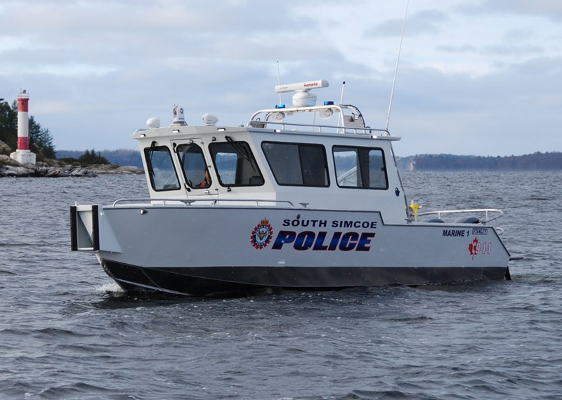 30' MV Patrol Boat - Law Enforcement Patrol Vessel with Vee-bottom hull providing a solid and quiet ride in rough water.