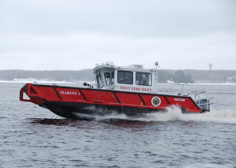 Fire Rescue Boat - Aluminum Landing craft design, custom built for the City of Troy N.Y Fire Department