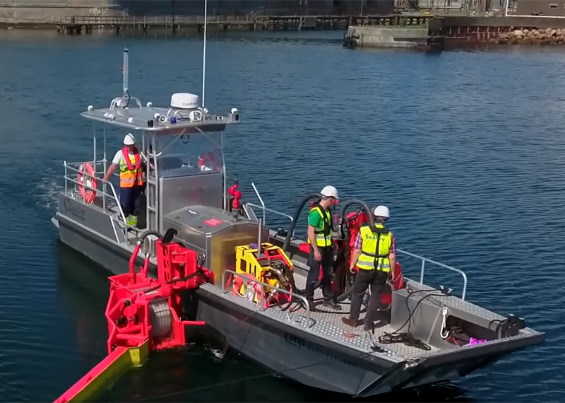 24' Aluminum Oil Spill Response Boat with Boom Deployment System for Rapid Spill Response and Containment.