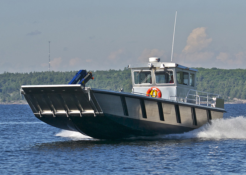 40' Heavy-duty Oil Spill Response Boat; Built with Welded Aluminum, Jet Propulsion and a Bullnose Landing Craft design.